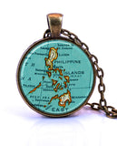 Philippines, Map Pendant Necklace - created from a 1937 map.-Small Pendant-Paper Towns Vintage