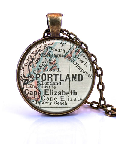 Portland, Maine Map Pendant Necklace - created from an 1891 map.-Small Pendant-Paper Towns Vintage