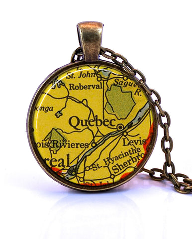 Quebec, Canada Map Pendant Necklace - created from a 1943 map.-Small Pendant-Paper Towns Vintage