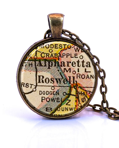 Roswell, Georgia Map Pendant Necklace - created from a 1927 map.-Small Pendant-Paper Towns Vintage