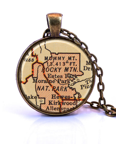 Rocky Mountain National Park, Colorado Map Pendant Necklace -created from a 1937 map.-Small Pendant-Paper Towns Vintage