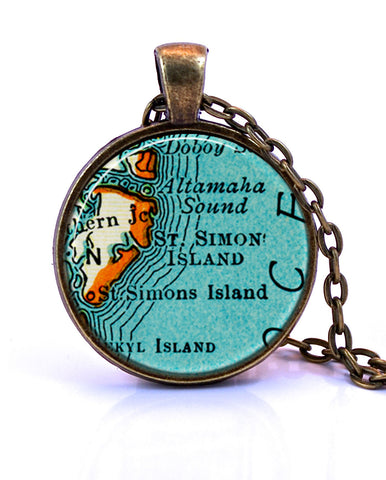 Saint Simons Island, Georgia Map Pendant Necklace - created from a 1937 map.-Small Pendant-Paper Towns Vintage