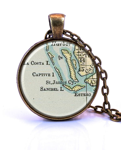 Sanibel and Captiva Island, Florida Map Pendant Necklace - created from an 1891 map.-Small Pendant-Paper Towns Vintage