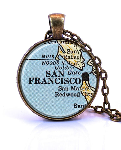 San Francisco, California Map Pendant Necklace - created from a 1958 map.-Small Pendant-Paper Towns Vintage