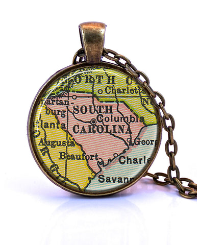 South Carolina Map Pendant Necklace - created from a 1934 map.-Small Pendant-Paper Towns Vintage