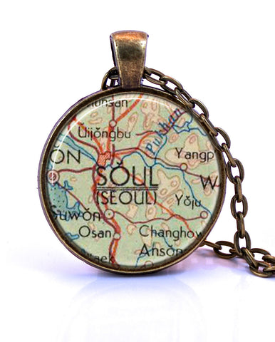Seoul, Korea Map Pendant Necklace - created from a 1960 map.-Small Pendant-Paper Towns Vintage