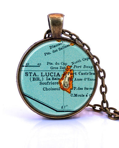 St. Lucia Map Pendant Necklace - created from a 1937 map.-Small Pendant-Paper Towns Vintage