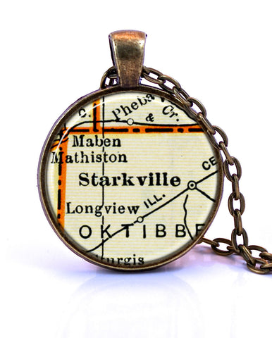 Starkville, Mississippi Map Pendant Necklace - created from a 1937 map.-Small Pendant-Paper Towns Vintage