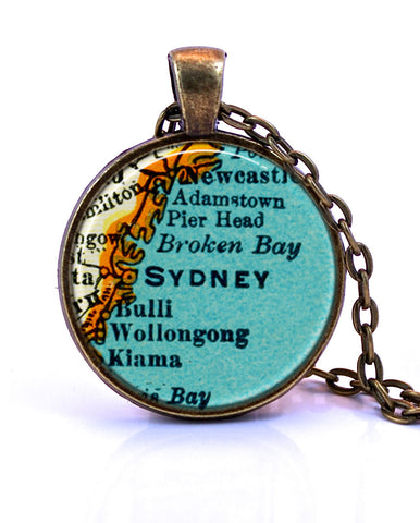 Sydney, Australia Map Pendant Necklace - created from a 1937 map.-Small Pendant-Paper Towns Vintage