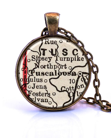 Tuscaloosa, Alabama Map Pendant Necklace - created from an 1893 map.-Small Pendant-Paper Towns Vintage