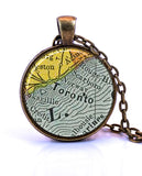 Toronto, Ontario Canada Map Pendant Necklace - created from an 1882 map.-Small Pendant-Paper Towns Vintage