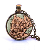 Toronto, Ontario Map Pendant Necklace - created from a 1935 map.-Small Pendant-Paper Towns Vintage