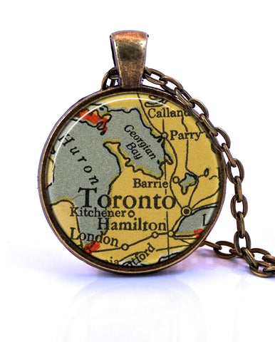 Toronto, Ontario Map Pendant Necklace - created from a 1934 map.-Small Pendant-Paper Towns Vintage