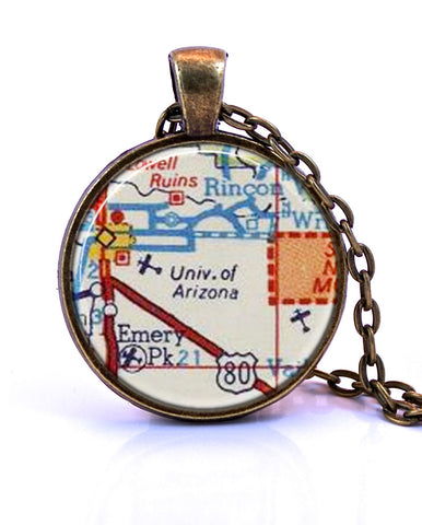 University of Arizona Map Pendant Necklace - created from a 1956 map.-Small Pendant-Paper Towns Vintage