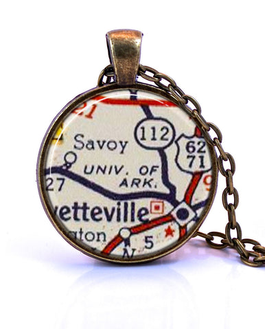 University of Arkansas Map Pendant Necklace - created from a 1956 map.-Small Pendant-Paper Towns Vintage