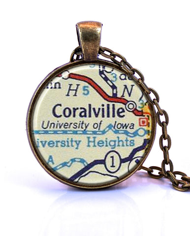 University of Iowa Map Pendant Necklace - created from a 1956 map.-Small Pendant-Paper Towns Vintage
