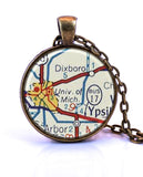 University of Michigan Map Pendant Necklace - created from a 1956 map.-Small Pendant-Paper Towns Vintage