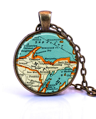 Upper Peninsula, Michigan Map Pendant Necklace - created from a 1937 map.-Small Pendant-Paper Towns Vintage