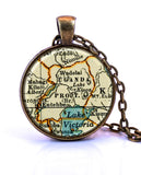 Uganda Map Pendant Necklace - created from a 1937 map.-Small Pendant-Paper Towns Vintage