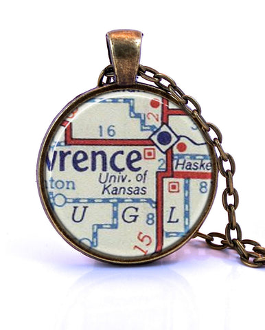 University of Kansas Map Pendant Necklace - created from a 1956 map.-Small Pendant-Paper Towns Vintage