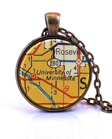 University of Minnesota Map Pendant Necklace - created from a 1956 map.-Small Pendant-Paper Towns Vintage