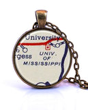 University of Mississippi Map Pendant Necklace - created from a 1956 map.-Small Pendant-Paper Towns Vintage