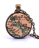Vancouver, British Columbia Canada Map Pendant Necklace - created from a 1935 map.-Small Pendant-Paper Towns Vintage