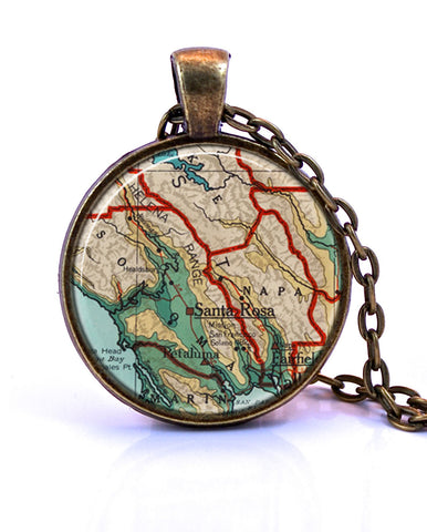 Wine Country, California Small Map Pendant Necklace - created from a 1960 map.-Small Pendant-Paper Towns Vintage