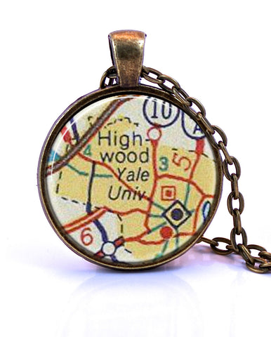 Yale University, Connecticut Small Map Pendant Necklace - created from a 1956 map.-Small Pendant-Paper Towns Vintage