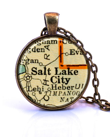 Salt Lake City, Utah Map Pendant Necklace - created from a 1937 map.-Small Pendant-Paper Towns Vintage