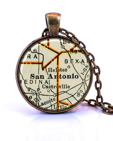 San Antonio, Texas Map Pendant Necklace - created from a 1937 map.-Small Pendant-Paper Towns Vintage