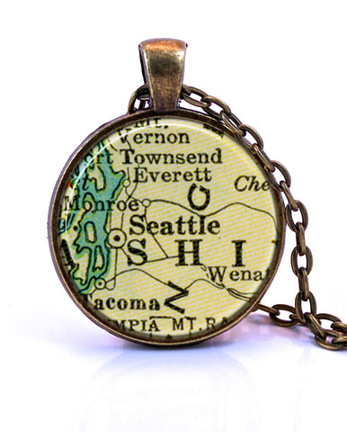Seattle, Washington Map Pendant Necklace - created from a 1937 map.-Small Pendant-Paper Towns Vintage