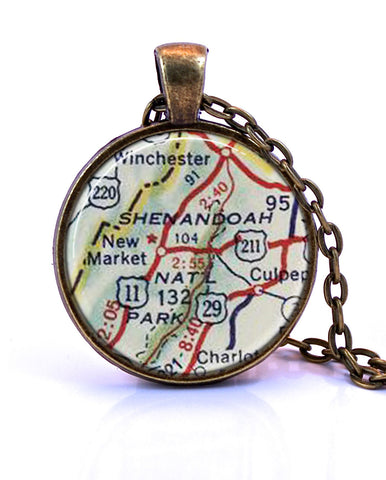 Shenandoah National Park, Virginia Map Pendant Necklace - created from a 1956 map.-Small Pendant-Paper Towns Vintage