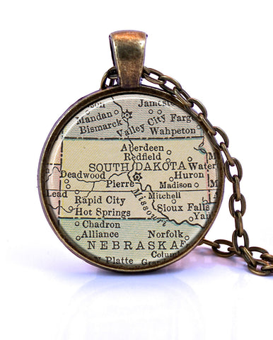 South Dakota Map Pendant Necklace - created from a 1934 map.-Small Pendant-Paper Towns Vintage