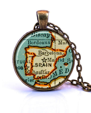 Spain Map Pendant Necklace - created from a 1937 map.-Small Pendant-Paper Towns Vintage