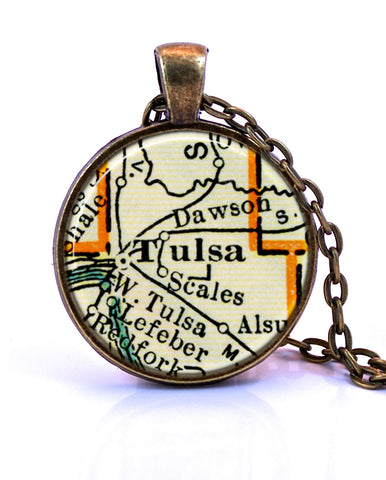 Tulsa, Oklahoma Map Pendant Necklace - created from a 1937 map.-Small Pendant-Paper Towns Vintage