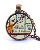 University of Nebraska Map Pendant Necklace - created from a 1956 map.-Small Pendant-Paper Towns Vintage