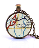 University of North Carolina Map Pendant Necklace - created from a 1956 map.-Small Pendant-Paper Towns Vintage