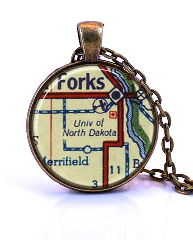 University of North Dakota Map Pendant Necklace - created from a 1956 map.-Small Pendant-Paper Towns Vintage