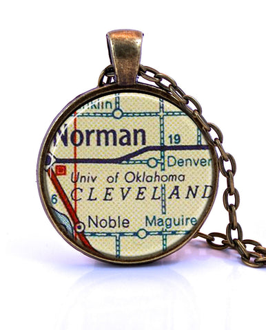 University of Oklahoma Map Pendant Necklace - created from a 1956 map.-Small Pendant-Paper Towns Vintage