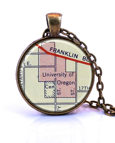 University of Oregon Map Pendant Necklace - created from a 1956 map.-Small Pendant-Paper Towns Vintage