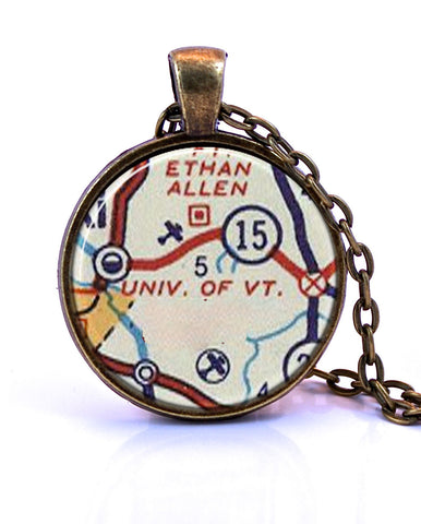 University of Vermont Map Pendant Necklace - created from a 1956 map.-Small Pendant-Paper Towns Vintage