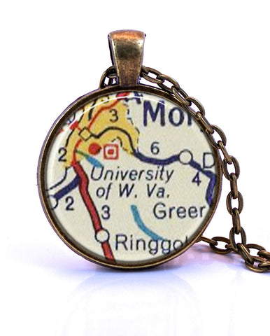 University of West Virginia Map Pendant Necklace - created from a 1956 map.-Small Pendant-Paper Towns Vintage