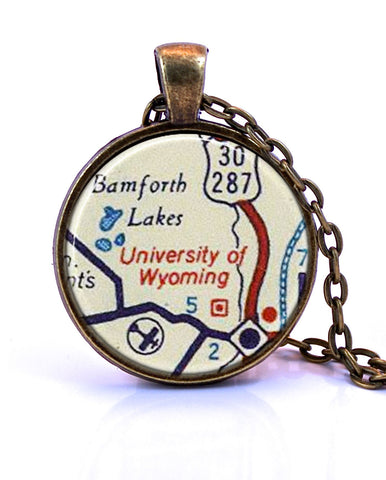 University of Wyoming Map Pendant Necklace - created from a 1956 map.-Small Pendant-Paper Towns Vintage