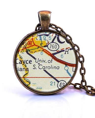 University of South Carolina Map Pendant Necklace - created from a 1956 map.-Small Pendant-Paper Towns Vintage