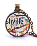 Vanderbilt University, Tennessee Map Pendant Necklace - created from a 1956 map.-Small Pendant-Paper Towns Vintage