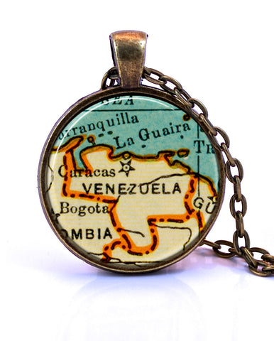 Venezuela Map Pendant Necklace - created from a 1937 map.-Small Pendant-Paper Towns Vintage
