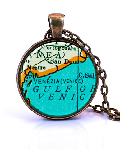 Venice, Italy Map Pendant Necklace - created from a 1937 map.-Small Pendant-Paper Towns Vintage
