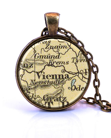Vienna, Austria Map Pendant Necklace - created from a 1909 map.-Small Pendant-Paper Towns Vintage