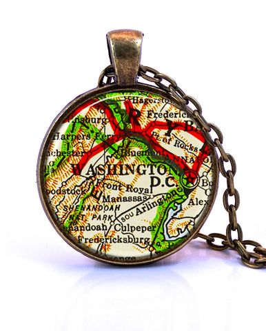 Washington DC Map Pendant Necklace -created from a 1958 (version A) map.-Small Pendant-Paper Towns Vintage